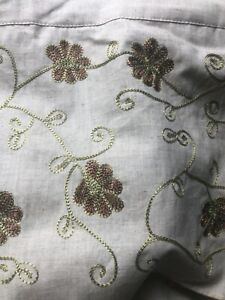 """Embroidered Linen Rod Pocket Single Curtain IVORY FLAX 44"""" X 84""""  Pottery Barn"""