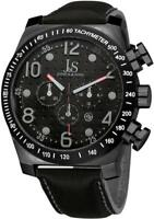 Joshua & Sons JS14BK Chronograph Tachymeter GMT Date Black Leather Mens Watch