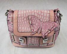 Guess Flutter Bag Handbag Purse Pink Purple Croc Strap Chain Handle PVC Logo