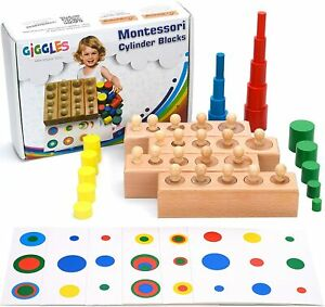 Cylinder Montessori Blocks Knobbed Cylinders Wooden Materials Baby Game Ball