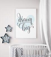 Dream Big Silver Girl/'s Nursery Prints Wall Art Kids Room Decor Princess