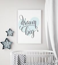 Dream Big Blue Heart Print Nursery Kids Baby Boy Room Wall Art Picture Decor