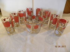 Vintage Hazel Atlas Red and Gold embossed Collins Glasses and Ice Bucket