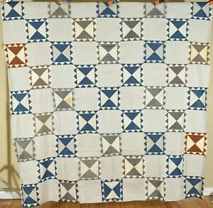 """Well Pieced Vintage 1890's """"Aunt Mary's Double Nine Patch"""" Antique Quilt Top!"""
