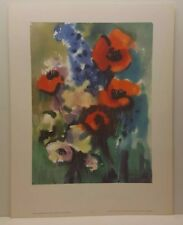 Vintage Lithograph Art Print Franz Aumüller Red Poppy and Knight Spur Flowers