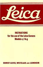 LEICA c, f, & g CAMERA INSTRUCTION MANUAL -LEICA lllc-lf-llf-lllf-lllg CAMERAS