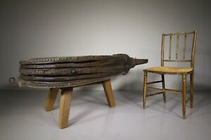 Massive Pair of Elm & Leather Antique Bellows Coffee Table