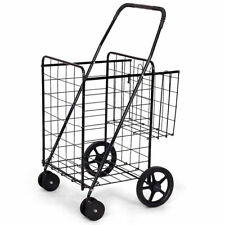 Folding Shopping Cart Jumbo Basket Grocery Laundry Travel w/Swivel Wheels Black