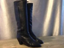 Taha Black Leather Pull On Knee High Boots Size 39.5
