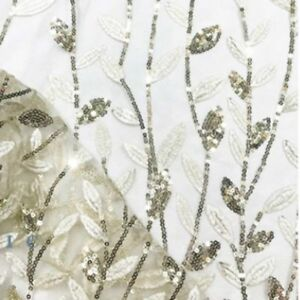Guipure Embroidery Sequins Lace Fabric Glitter Mesh Cloth Dress Material By Yard