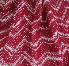 2-YDS  KNIT LYCRA  FABRIC  4W STRETCH ZIG ZAG & RED SEQUINED ALL OVER NEW