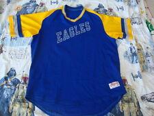 Vintage 80's EAGLES Blue Yellow Ringer V Neck Made in USA Baseball Jersey 46 L