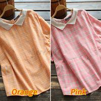 ZANZEA Womens Blouse Basic Short Sleeve Office Plaid Down Tee T-Shirt Plus Size