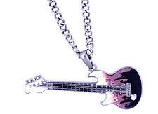 Sehr cool rosa und schwarzer Emaille Gitarre Halskette