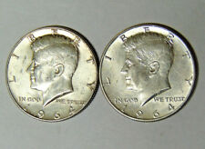 Lot of 2 Kennedy 90% Silver Half Dollars 1964 1964-D Circulated Condition