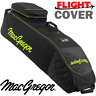 MACGREGOR XL DELUXE WHEELED PADDED GOLF BAG FLIGHT TRAVEL COVER BLACK / LIME