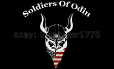 Soldiers of Odin USA 3'x5' Black Flag alt-right Trump Finland USA Seller Shipper