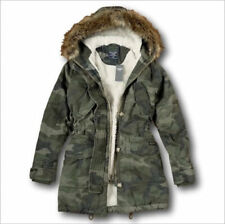Abercrombie & Fitch Womens Sherpa Lined Winter Parka Jacket XS X-Small 0-2 CAMO