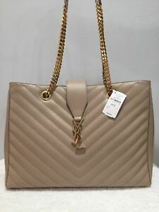 ✭✮Authentic- YSL- Yves-Saint-Laurent-Monogram-Beige-Quilted -Leather-Tote-BAG