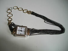 LADIES WRAP AROUND  FANCY GOLD/SILVER/BLACK FINISH CHAIN WATCH