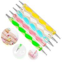 5pcs Set 2 Way Dotting Pen Marbleizing Tool Nail Art Design Dot Paint Tools NEW