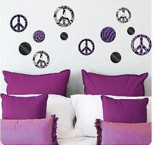 PEACE SIGNS animal print MIRRORED wall stickers mirrors 12pc leopard zebra decor