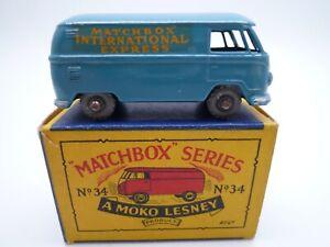 VINTAGE MOKO LESNEY No.34a VOLKSWAGEN SPLIT SCREEN VAN IN ORIGINAL BOX 1957