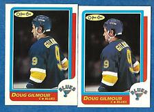 1986-87 O-Pee-Chee Regular & Blank Back DOUG GILMOUR (ex-mt) #93 & Error