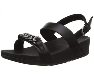 FitFlop Lottie Chain Back Strap Womens UK 8 EU 42 All Black Wedge Heel Sandals