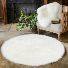 120cm RoundCircle ShaggyArea RugCarpetFloor Mat Faux Fur Washable Any Rooms