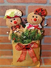 Gingerbread Couple In Burlap Sack - Hanging Christmas Decoration