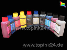 10x 100 ML INCHIOSTRO INK per Canon Pixma Pro 10 S PGI 72 PBK C M Y PC PM GY co R MBK