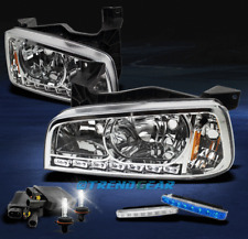 2006-2010 DODGE CHARGER LED CRYSTAL CHROME HEAD LIGHTS+6000K HID+BLUE DRL SIGNAL