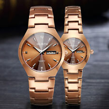 2 PCS watches for man woman coffee gold steel strap  couples lovers wrist watch