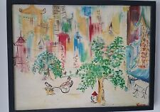 Oil Painting on Canvas Street Scene China Town Impressionist Artist Signed