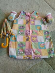 Vintage Baby Born Umbrella Sleep bag and mittens Zapf Creation
