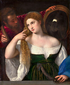 Titian - Woman with a Mirror, 1515, Museum Art Poster, Canvas Print