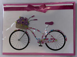 Papyrus Blank Card - Pink Floral Bike w/ Bow