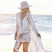 Summer Women Lace Kimono Cardigan Bikini Cover Up Wrap Beachwear Long Tops