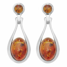 Butterfly Fastening Drop/Dangle Natural Amber Fine Earrings