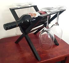 Set di 4 Bicchieri da Vino in Vetro Supporto Bottiglia Di Vino Supporto Rack Home Decor Cristalleria
