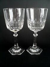 "2 Villeroy & Boch Bristol 7 1/2"" crystal clear cut  Multi sided hex goblet stem"