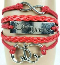 One Direction 2 Hearts Red Infinity Layer Wrap Bracelet