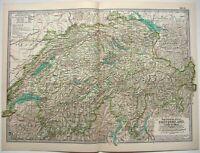 Original 1897 Map of Switzerland & Liechtenstein by The Century Company