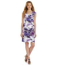 Adrianna Papell Wear to Work CapSleeve Faux-Wrap Floral-Print Sheath Dress Sz 14