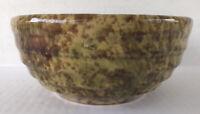 "Antique Spongeware Bowl Green Brown Yellow 7"" Primitive Pottery"