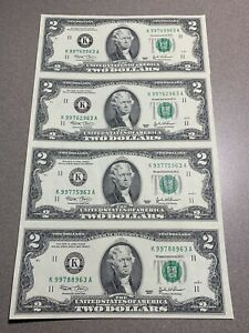 2003 2 Dollar Bill Uncut Uncirculated Sheet of 4