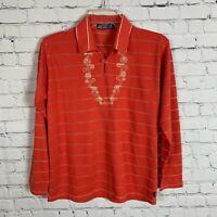 Vintage Patagonia Women's Orange Striped Long Sleeve Shirt Size 36