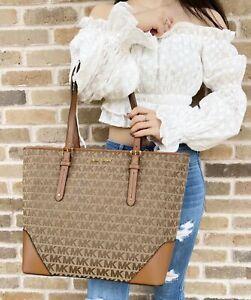 Michael Kors Lillian Large Top Zip Shoulder Tote Handbag Beige Brown