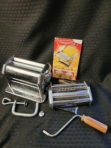 Imperia dal 1932 CHROME Noodle PASTA MAKER Machine Wood Handle Vintage Italy
